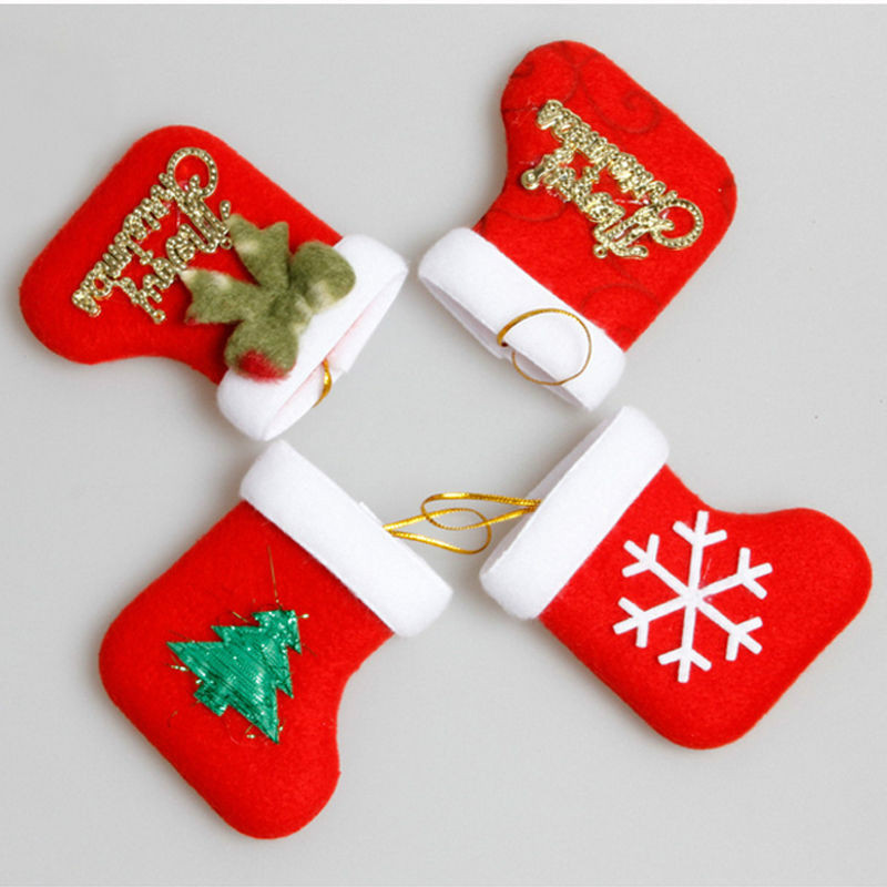red stocking christmas tree drop ornaments personalised new luxury embroidered xmas stocking sack santa christmas ornaments gift in pendant drop ornaments - Embroidered Christmas Ornaments
