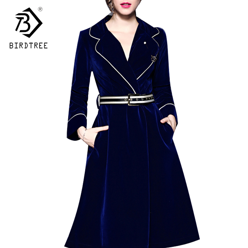 2017 Autumn Velvet A-line Dresses Knee-Length Dresses Soild Long Sleeves Notched Collar Sashes Office Lady Hot Sales D7D224C