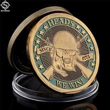 1775 cabeças nós ganhamos caudas você perde crânio chapeado moedas de desafio comemorativo arte