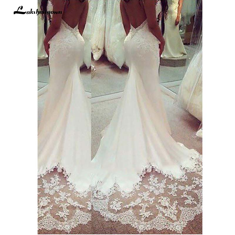 Spaghetti Lace Sleeveless Wedding Gown Lace Appliques Boho Wedding Dress Backless Sexy robe de mariee 2019