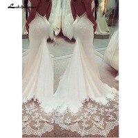Spaghetti Lace Sleeveless Wedding Gown Lace Appliques Boho Wedding Dress Backless Sexy robe de mariee 2019