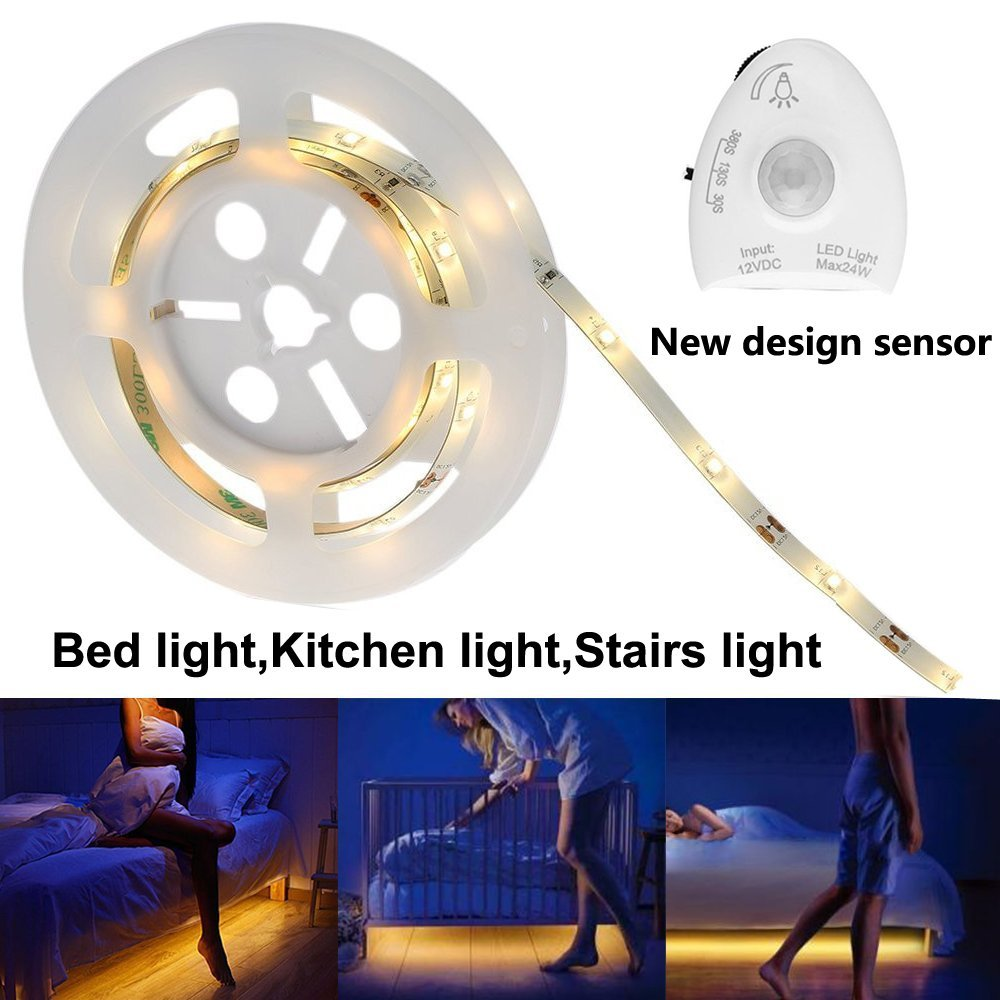 Under Bed Motion Sensor Night Light Dimmable Bed Light Warm White LED Strip With Automatic Shut Off Timer for Cabinets/Stairs
