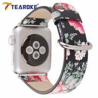 TEAROKE Chinese Ink Painting Flower Leather Watchband For Apple Watch 38mm 42mm Classical Style Women Men