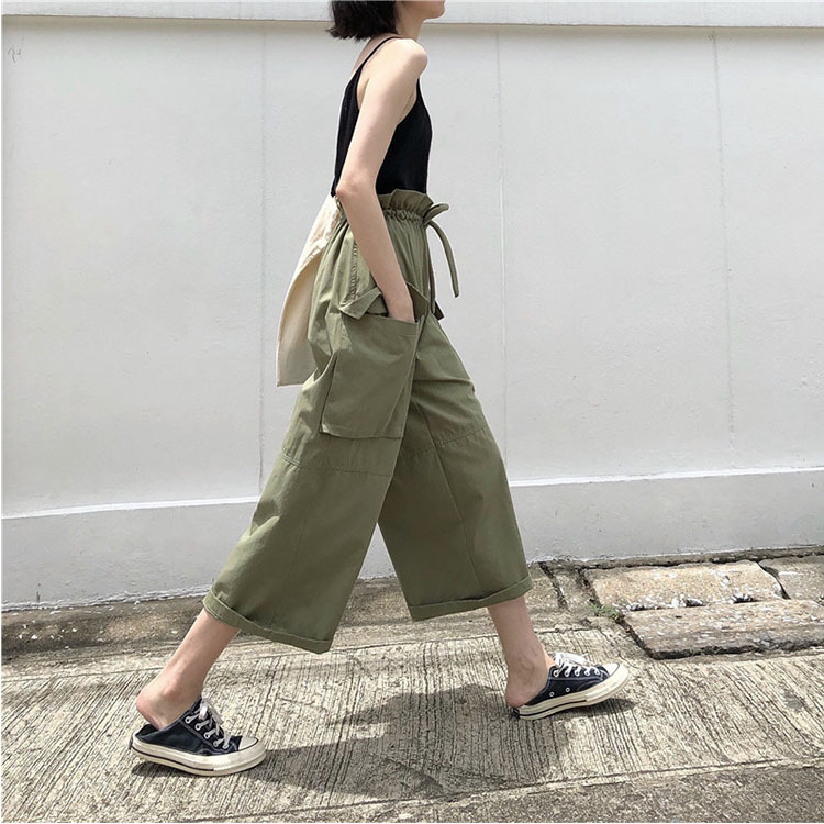 Women Casual Loose   Wide     Leg     Pants   Womens Fashion Safari Style Trousers Female Pure Color Females Streetwear Pocket Summer   Pants