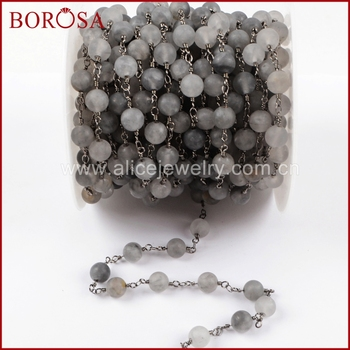 BOROSA 5Meters Gold Color Matte Gray Agates Roundel Faceted Beads Rosary Chain Fashion Beaded Chains Jewelry Finding JT214