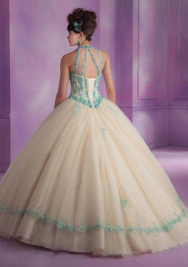 Debut Ball Gowns Quinceanera Dress for 15 Years Tulle Appliques Halter New Fashion Design 2015 Girls Special Party Clothing3