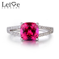 Leige Jewelry 925 Solid Sterling Silver Ruby Ring July Birthstone Red Gemstone Cushion Cut Promise Wedding
