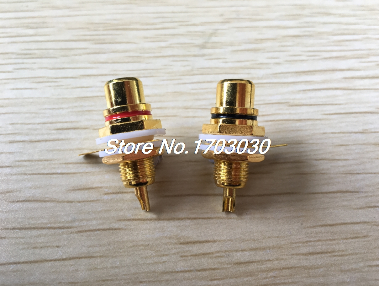 6pcs AMPS Gold RCA Connector Femail Chassis Sockets free shipping 10pcs stereo rca connector female chassis sockets