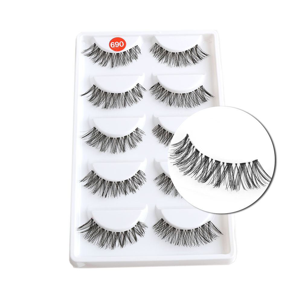 5 Pairs Black Messy Cross False Eyelashes Natural Long Eyelash Big Eyes Makeup Fake Eye Lashes Extension Tools