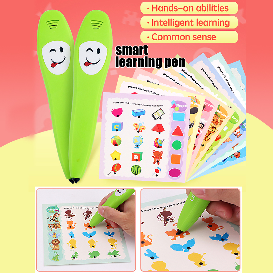 Smart logic Learning Pen,Electronic Reading Pen with 12pcs Learning cards Common Sense Early Intelligent Educational toys