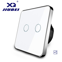 Manufacturer Jiubei EU Standard Touch Switch 2 Gang 2 Way Control 3 Color Crystal Glass Panel