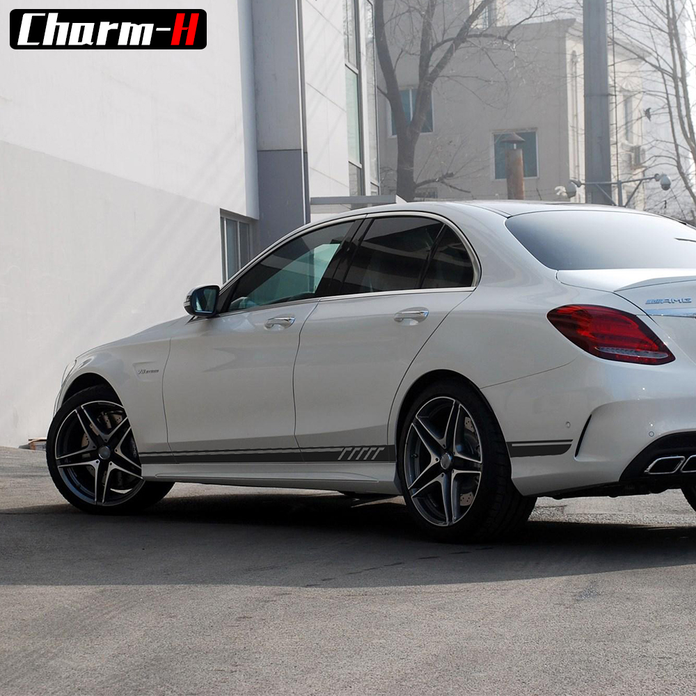 2 pieces gloss matte 5d black amg edition c63 507 side stripe decals stickers for mercedes benz. Black Bedroom Furniture Sets. Home Design Ideas