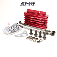 CNC Oil Cooler Kit Radiator Aluminium Adapter Engine Cylinder Cover Cooling For ATV Pit Dirt Bike motocross motocycle 50CC 125CC