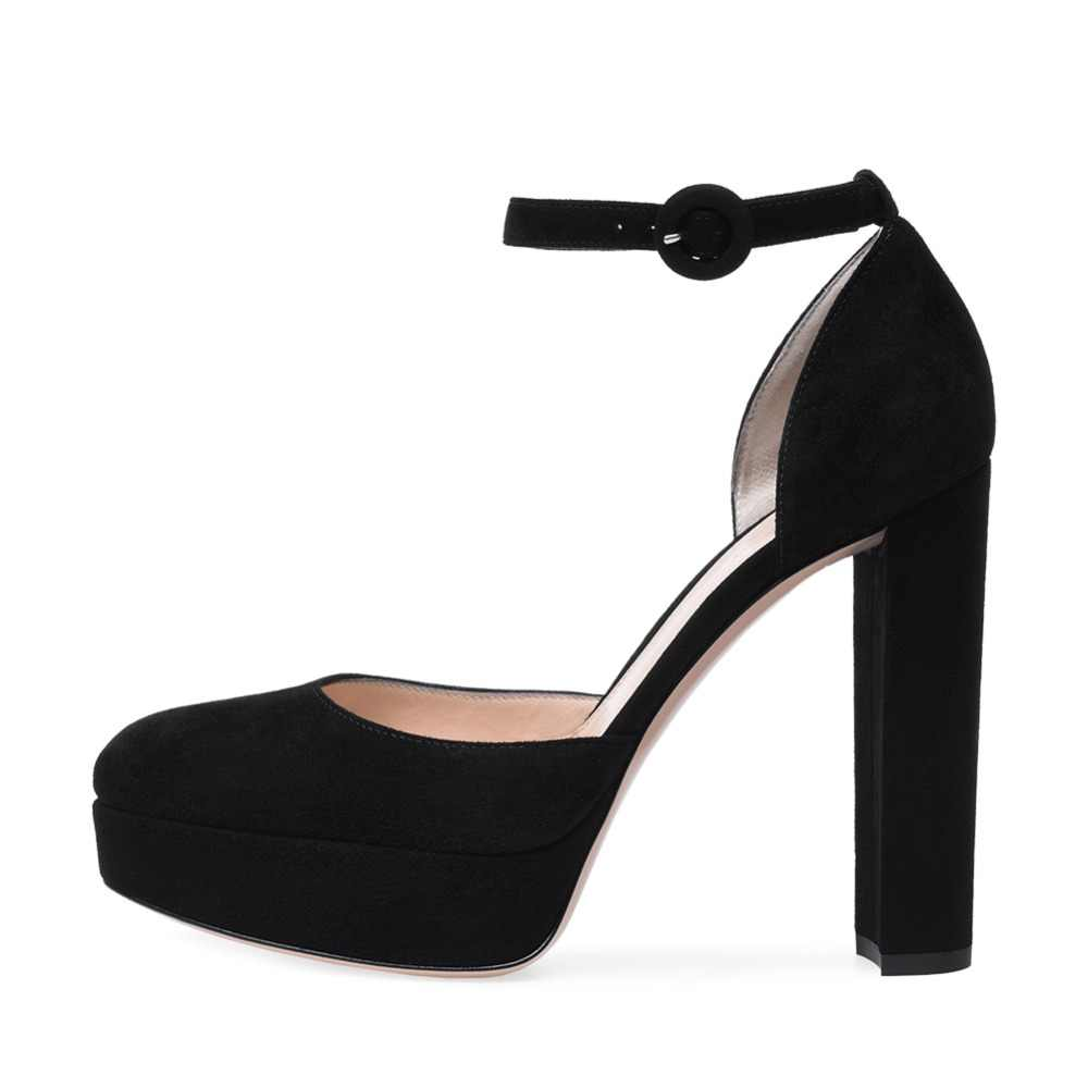 Chunky Heel Black Pumps