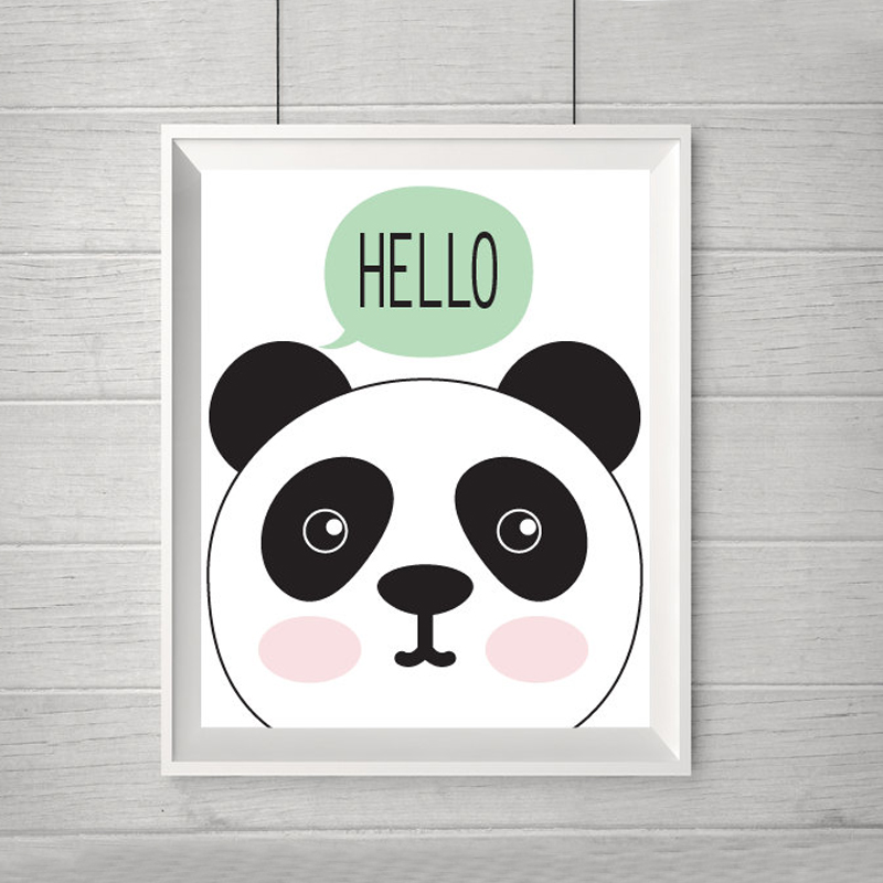 Hello Panda Art Print Baby Canvas Wall Modern Nursery Decor Animals Kids Room Frame Not Included In Painting Calligraphy From