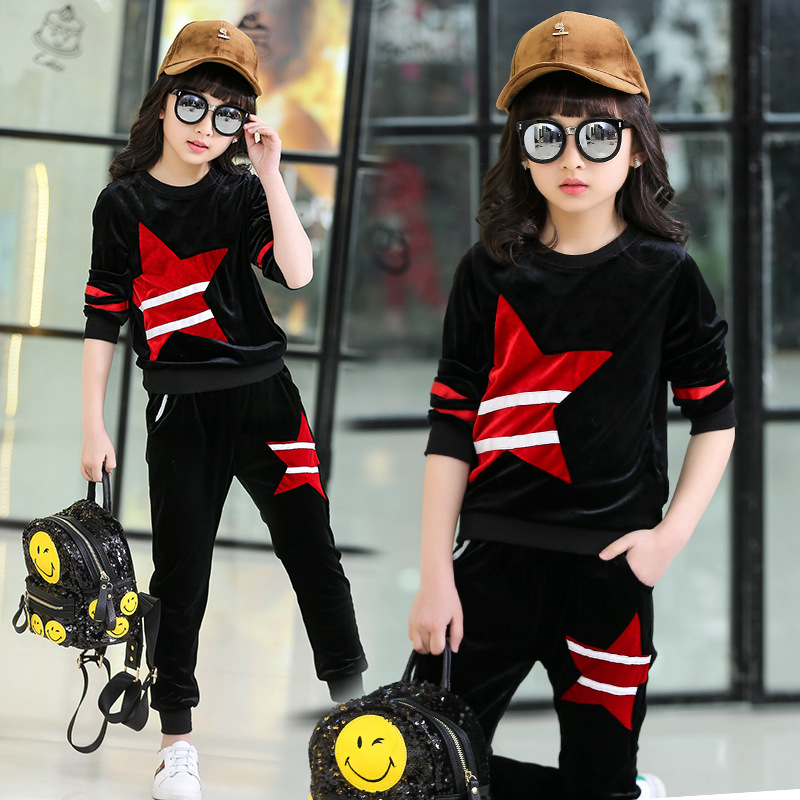 Children clothing set black leisure sports suit autumn clothes for 4 5 6 7 8 9 10 11 12 13 years girl cute velvet sportswear