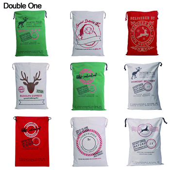 цена на XMAS Christmas Cotton Canvas Drawstring Gift Bag Child Candy Jewelry Gift Big Pouch Santa Claus Deer 15 styles 1PC 50x70cm