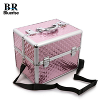 Beauty Box Nail Tool Storage Box Makeup Bag Multi Tiers Champagne Big Diamond Pattern Portable Cosmetic Tools Bags Professional