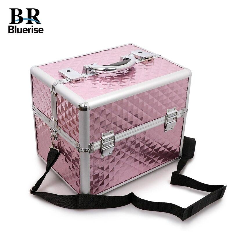 Scatola di bellezza Del Chiodo Strumento di Storage Box Makeup Bag Multi Livelli Champagne Grande Modello del Diamante Strumenti di Cosmetici Portatili Borse Professionali