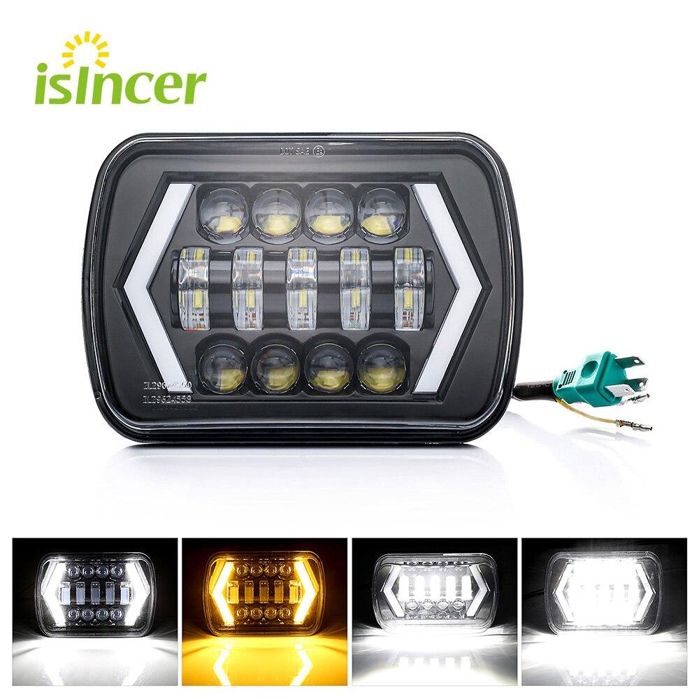 1 pcs 7x6 Inch Angel Eyes DRL H4 LED Square Headlights For Jeep Wrangler YJ Cherokee XJ Comanche MJ Led Rectangle Headlamp