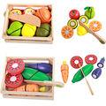 Envío libre de madera juguetes educativos de la primera infancia de los niños jugar a las casitas de simulación frutas y verduras honestamente feliz regalo