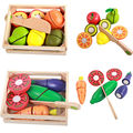 Free shipping wooden children's educational toys early childhood play house simulation fruits and vegetables honestly happy gift