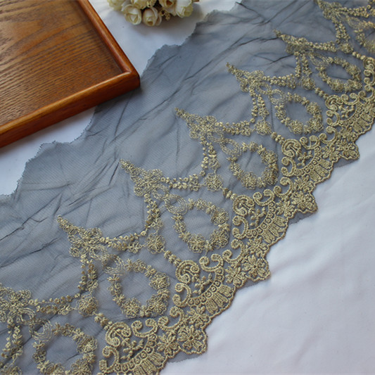 Europe Luxury Gold Embroidered Lace Applique Lace Ribbon