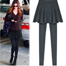 2015 New Skirt Leggings For Women Fashion Pleated Skirt Skinny Pencil Pants Solid Footless Legging Casual Wear Black Gray KZ-007