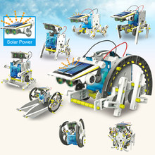 Kids 13 in 1 Solar Power Robot Kit Funny DIY Toy Solar Powered Toys Transformation Robot Kit Educational Gift Toys For Boy(China)