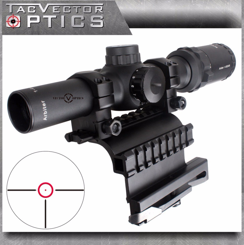 Vector Optics AK47 AK74 1-4x24 Compact Tactical 30mm Riflescope Scope with AK 47 74 QD Side Rail Mount fit Real Firearms 2 IN 1 цена и фото