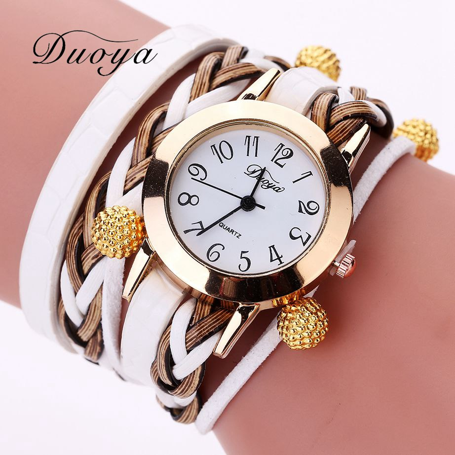 Duoya Brand Women Armband Klocka Fashion Luxury Gold Pärlor Flätad Quartz Armbandsur Ladies Vintage Watch Gift Dropshipping
