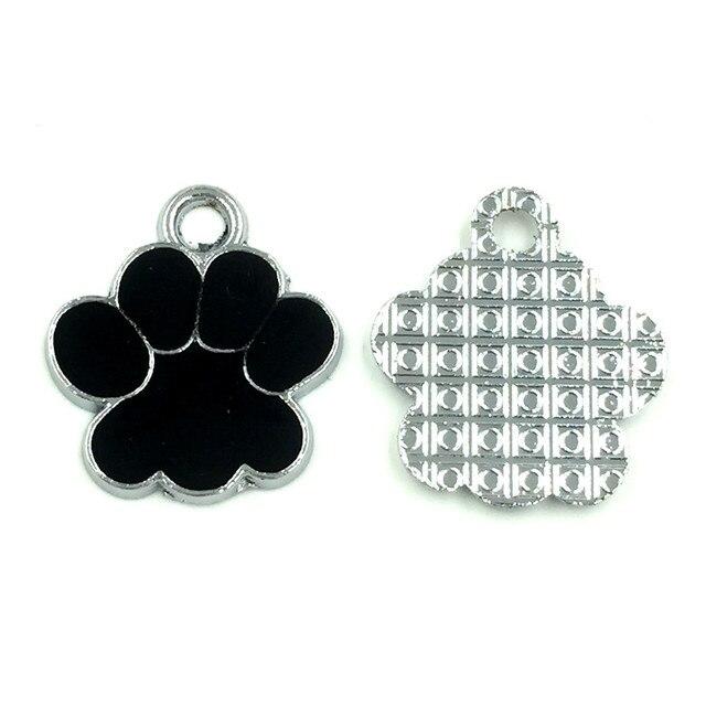 30Pcs Silver Tone Bear's Pat Enamel Black Ours Patte Charms Pendants Jewelry Findings 19x17mm 2