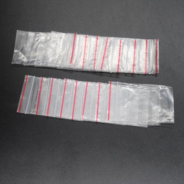 100pcs Clear Resealable  Self Sealing Zipper Ziplock Plastic Package Reclosable Clip Chain Grocery Small Bags