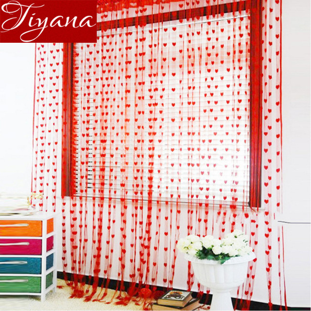 Love Shape Patterns Home Decoration Curtains Window Screen Panel ...