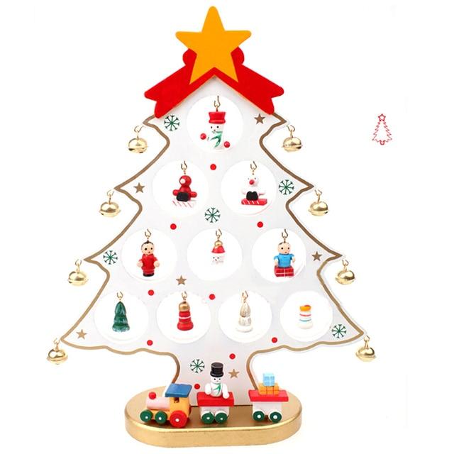 3 Colors DIY Cartoon Wooden Merry Christmas Tree Decoration ...