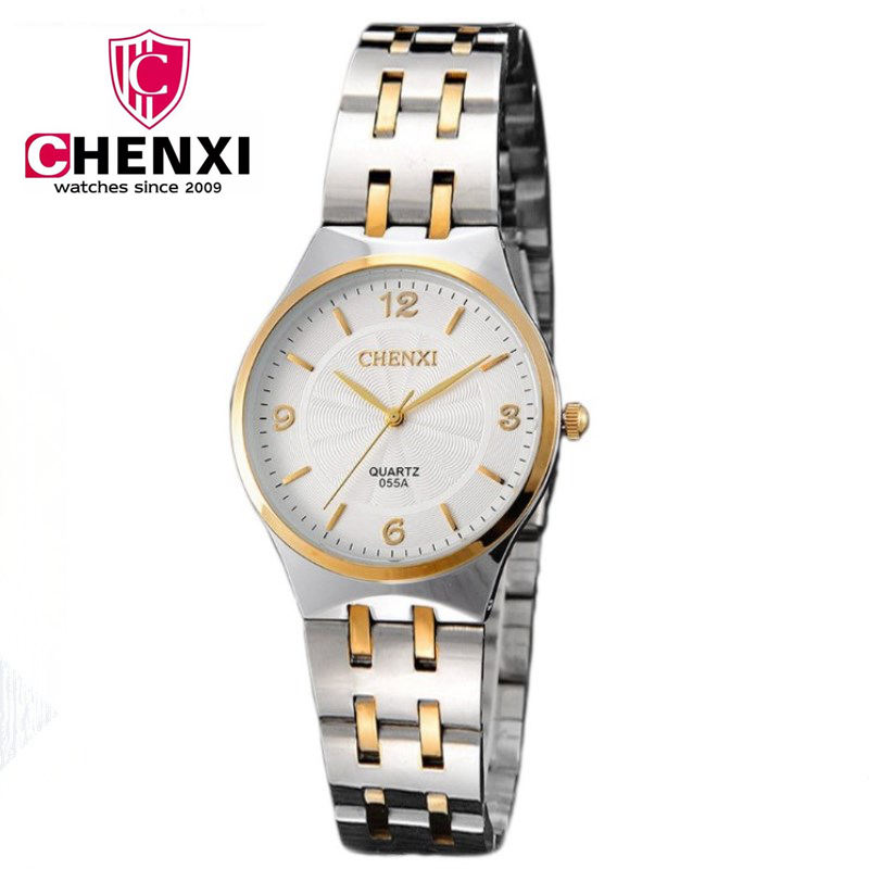 CHENXI Fashion Lovers Watch Women Gold Silver Casual Clock Watch Luxury Brand Stainless Steel Strap Relogio Masculino PENGNATATE