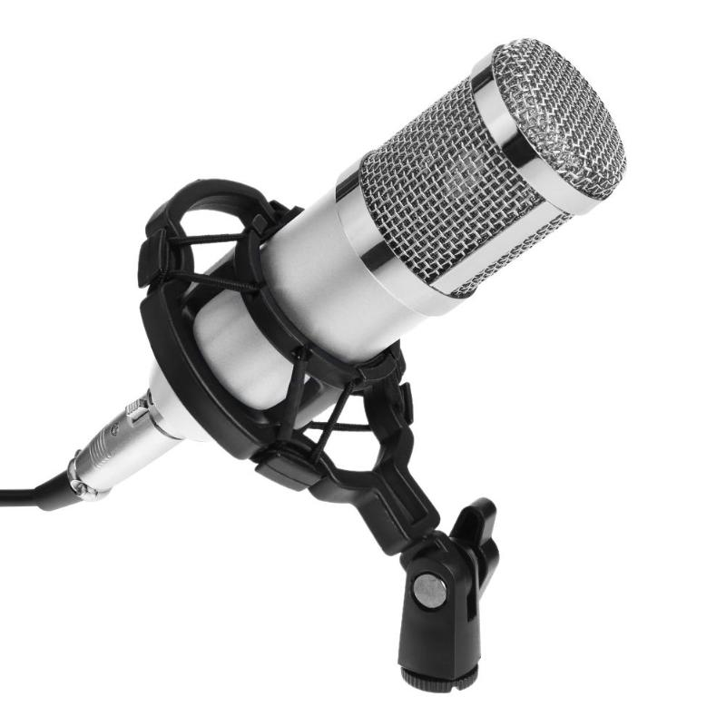 ALLOYSEED Wired Professional BM 800 bm800 Condenser Sound Recording Microphone with Shock Mount for Radio Braodcasting Singing