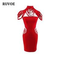 Newest Summer Elegant high quality sexy women red short sleeve round neck fashion mini bandage dress wholesale LZ 46
