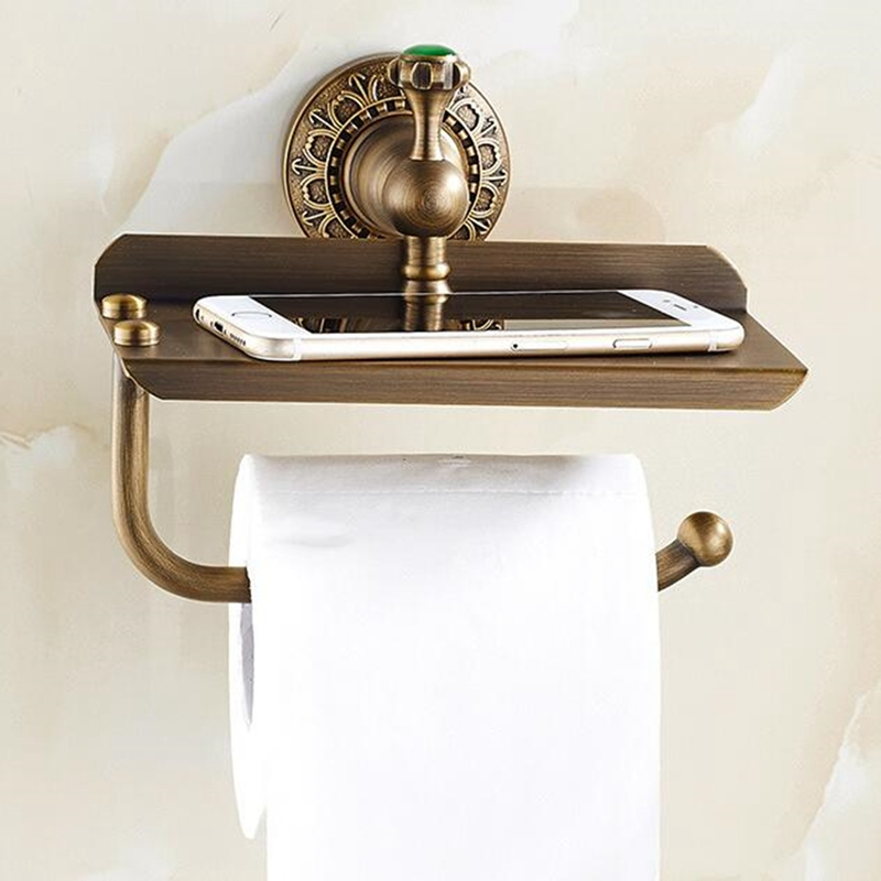 Wall Mounted Retro Copper Bathroom Hotel Paper Holder Roll Tissue Storage Shelf Towels Phone Book Store Rack Organizer alpine kit 7bm3a