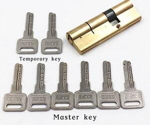 Дверной цилиндр Смещенный замок 65 70 80 90 115 мм цилиндр AB ключ противокражный вход латунный дверной замок удлиненный сердечник расширенные кл...