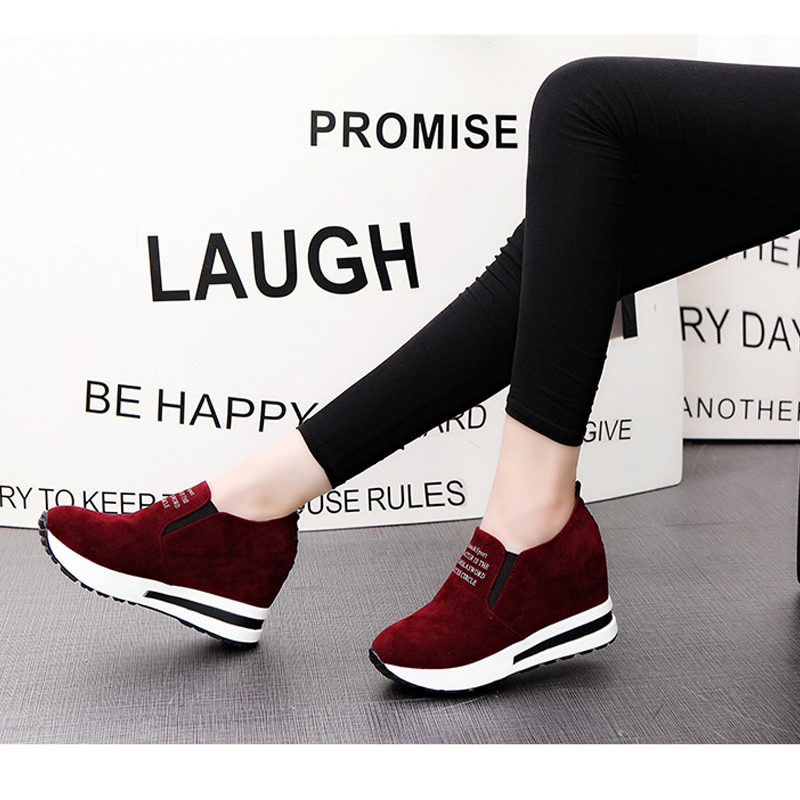 Image 2 - 2019 Flock High Heel Lady Casual Shoes Wedges Women Sneakers Leisure Platform Shoes Breathable Increasing Slip on Footwear-in Women's Pumps from Shoes