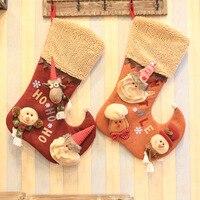 Christmas Stocking Plaid Santa Claus Sock Gift Bag Kids Xmas Noel Decoration Candy Bag Bauble Christmas