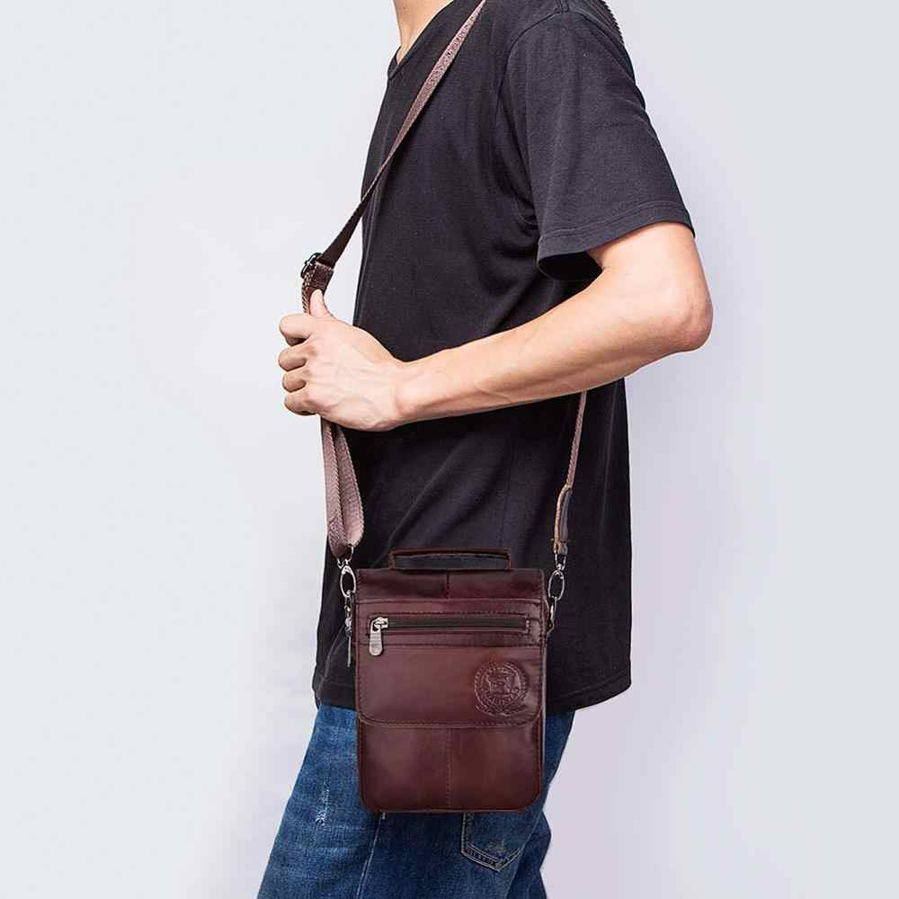 Fuzhiniao Desain Ritsleting Pria Perjalanan Tas Kulit Asli Messenger Tas untuk Fashion Kualitas Tinggi Cross Tubuh Bahu Tas Kecil