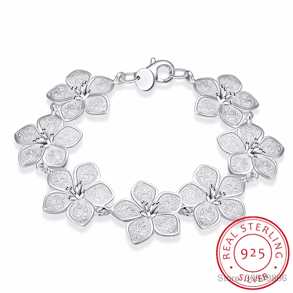 LEKANI Hot Sale 925 Sterling Silver Plum Bracelet Beautiful Flowers For Women Classic High- Quality Fine Jewelry
