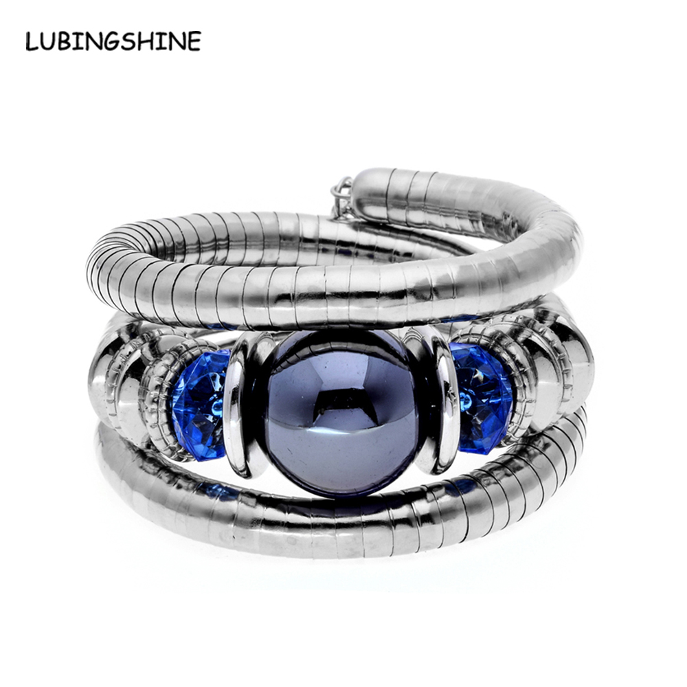 Tibetan Silver Snake Bracelets for Women and Men Resin Natural Stone Inlay Roundness Bead Flexible Bangles Pulseras Mujer B581