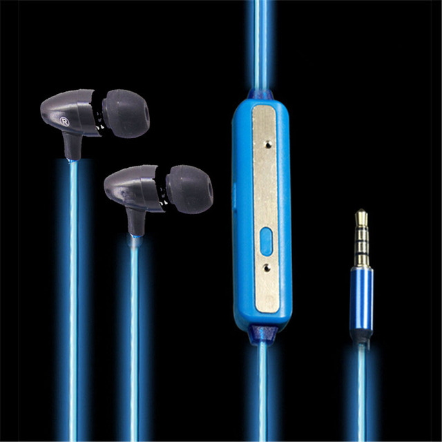 New Luminous Earphone Led Glow Earbuds MG-E001 Luminous Audifonos Fone De Ouvido In Ear Earphones With Microphone