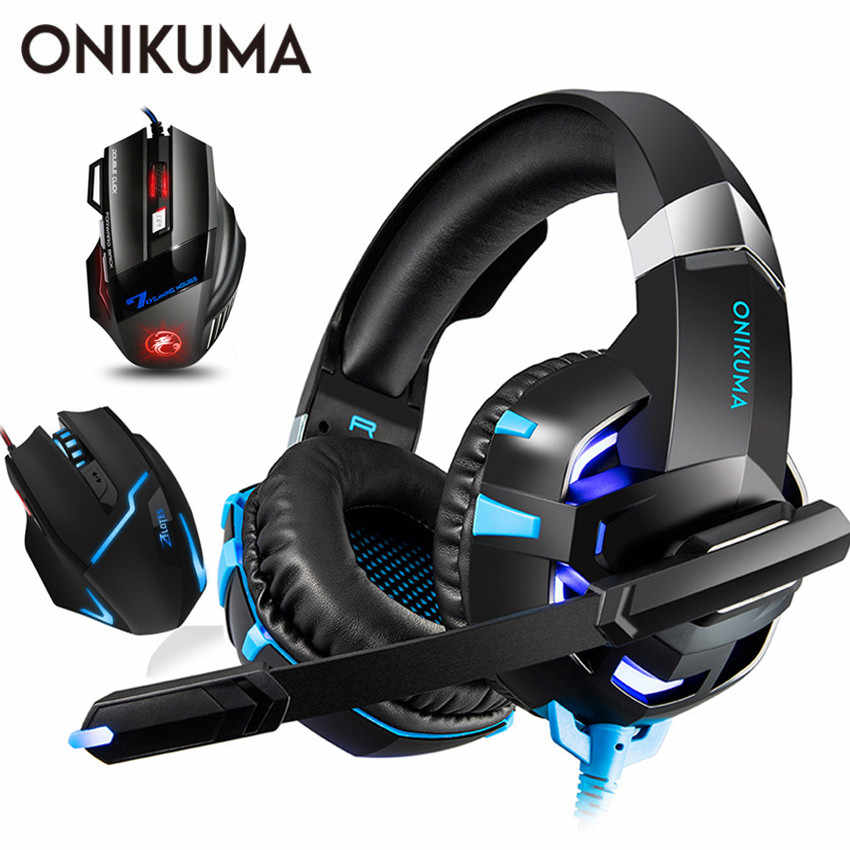 ONIKUMA Casque PS4 Gaming Headphones PC Gamer Stereo Headset with Microphone + Pro Wired USB Gaming Mouse