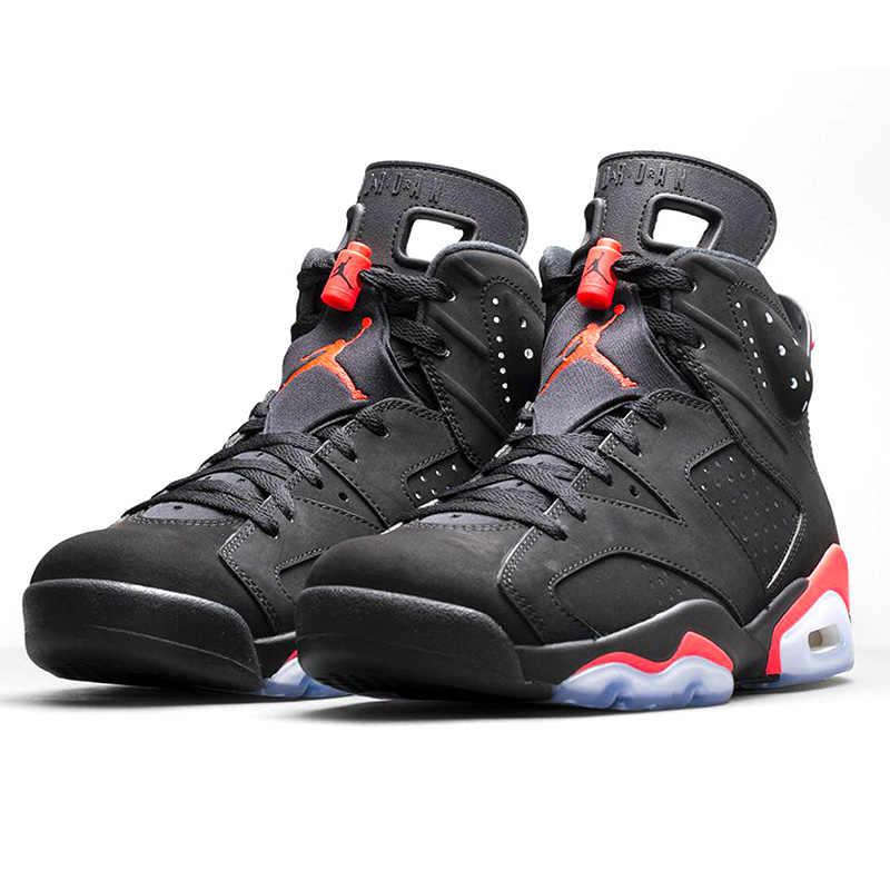 b050b8cf ... Nike Air Jordan 6 Black Infrared AJ6 Men Basketball Shoes, Black & Red,  Shock ...