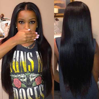 130% Density Full Lace Wig Straight Wigs Chinese Remy Human Hair for Black Women Preplucked With Baby Hair Bleached Knots