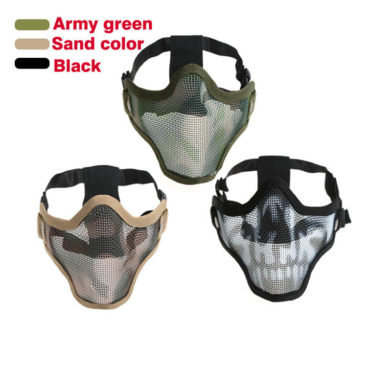 Tactical Airsoft Paintball Metal Net Mesh Protective Mask Adult Halloween Skull Half Face Mask Profession CS Mask Free shipping